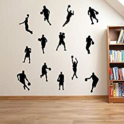 Jugadores de baloncesto, Basketballers Juego de 13 decoraciones de pared pegatinas de ventana decoración de la pared pegatinas de pared Wall Art adhesivos de pared pegatinas de pared de vinilo Adhesivos Mural Decoración DIY Deco removibles etiquetas de la pared pegatinas de colores, vinilo, 17 - Black, Small Set