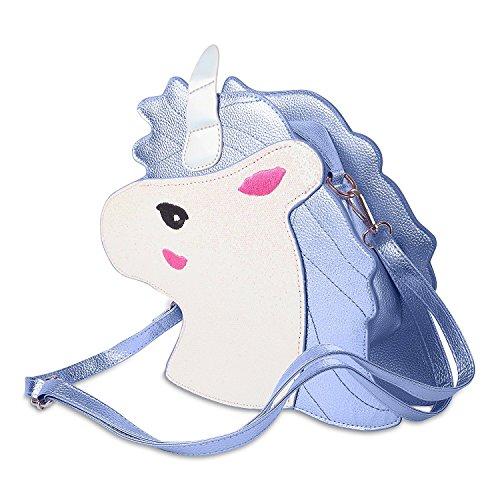 ODN Einhorn Schminkbeutel Kosmetik-TaschSüße Einhorn Schulter-Beutel Handtasche für Mädchen und Damen Umhängetasche Outdoor Einkaufstasche (Blau)