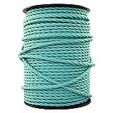 smartect Cavo elettrico Tessuto - VerdeMenta - 3 Metro cavo tessile intessuto - Tripolare (3 x 0.75mm²) - Cavo elettrico rivestito per Fai da Te