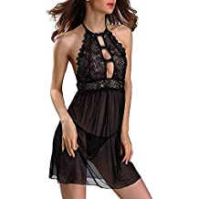 Lencería Sexy Mujer LANSKIRT Sexy para Mujer Ropa de Noche Encaje G String Vestido Ropa Interior