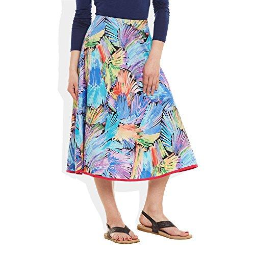 Damen Bekleidung Baumwolle gedruckt mittellanger Rock a-Linie Himmelblau