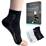 Beautystar 2 Paar (schwarz und weiß) Sports Plantarfasziitis Kompression Socken für Männer & Frauen | Knöchel & Ferse Fußgewölbe Ärmel | für schmerzende Füße, zur Schmerzlinderung, verbesserte Blutzirkulation, Recovery, Krampfadern, Laufen und mehr, Size L
