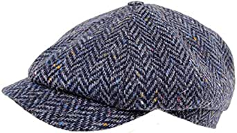 a8581eeb0c128 Mens 100% Wool Tweed 8 Piece Baker Boy Shooting Flat Cap Hat  Amazon ...