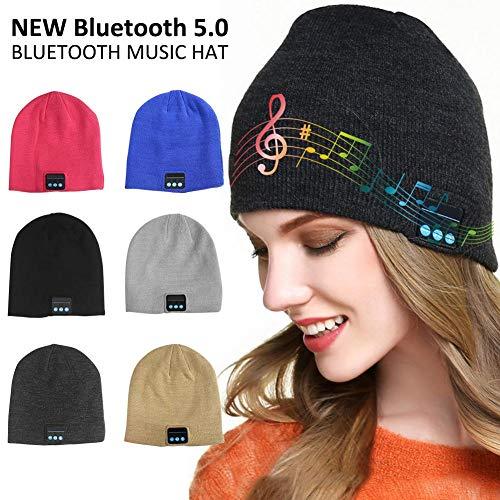 Wateralone Bonnet Bluetooth Hat avec Wireless V5.0 Casque Musical Casquette en Coton Bio, Bonnet Intégré, Micro Intégré, Casquette Musicale pour Le Sport avec Haut-Parleur stéréo Microphone