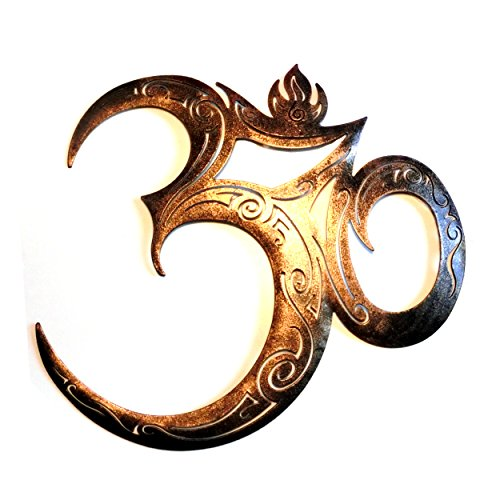 Om-Zeichen aus Metall, Gold, wetterfest - Wanddeko Meditation Zen-Garten Yoga-Studio Mantra Hinduismus Shanti