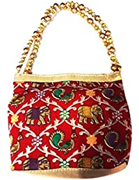 Sri Ganesh Bag House Ethnic Clutch Silk Potli Batwa Pouch Bag With Embroidery And Metal Beadwork Gift For Women