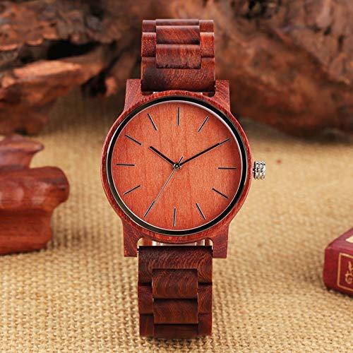 QMTFC Super Light Wooden Watch for Men Adjustable Red Sandalwood Strap Men's Wristwatch Ladies Quartz wristwatches Male Watch