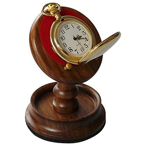 Holz Taschenuhr Ständer Holz Halterung Aufhänger Hand Walnuss und Messing Schreibtisch Top Display - Teure Taschenuhr