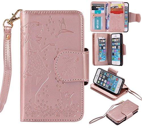 Nancen Compatible with Handyhülle iPhone 5 / 5S / SE (4,0 Zoll) Hülle, Prägung Mädchen Schmetterling Blume Vögel und Katze Muster Doka-Tasche [Rose Gold]