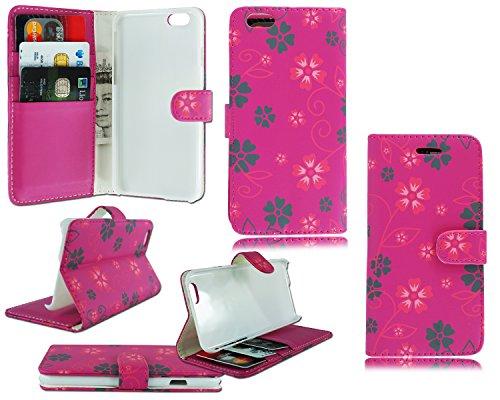 NEW Fleur Floral Étui portefeuille à rabat en cuir pour Apple i Phone 611,9cm Pink Flower Wallet