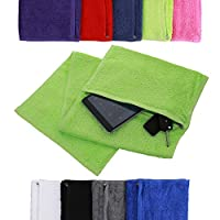 aztex Deluxe Cotton Gym Towel with Zipped Pocket, Lime Green