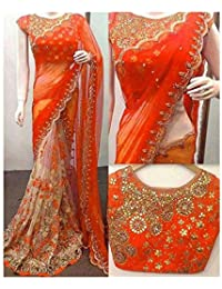 Mayur Silk Mills Orange Embroidered Half&half Georgette Saree With Unstitchd Blouse Piece