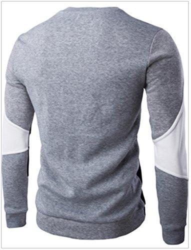 WSLCN Herren modern Kontrastfarbe Sweatshirt Schwarz / Graue Kragen