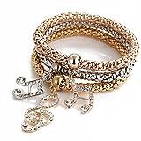 Armband Damen Armbänder DAY.LIN 3pcs Charm Frauen Armband Gold Silber Rose Gold Strass Armreif Schmuck-Set (D)