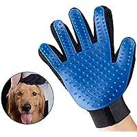 Lomire 1 Pcs Cepillo Guantes Masaje de Silicona para Mascotas Perros Gatos, Productos Limpieza de Baño Peine, Retiro del Pelo Azul (La Mano Derecha)