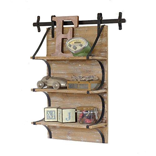 HQQ 3 Tier-Sich hin- und herbewegende Regale-Retro- Dachboden-industrielle Art-Eisen-und Holz-Küche-Wand-Speicherbrett-Bücherregal/Blumen-Stand- / Wand-hängendes Gestell/dekorativer