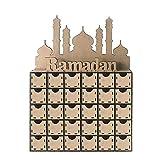 LIWEISDSDFS Hölzerner islamischer Gulbang Eid Mubary-Schubladenkassetten-Countdown-Kalender MDF Eid Mubarak 30 Tage Ramadan Adventskalender Schublade Muslimische Islamische Geschenke