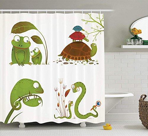 AdaCrazy Reptilienfamilie Buntes Baby Schlangenfrosch Ninja Turtles Love Mother Family Thema Reptilien Duschvorhang Stoff Badezimmer Dekor Set mit Haken Grün Braun (Ninja-turtle-thema)
