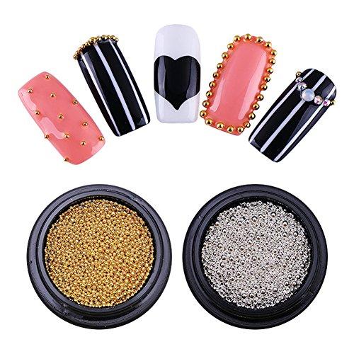 NICOLE DIARY 2 Boîtes Nail Art Décoration Perles Multi-Taille Nail Metal Perles En Acier Inoxydable Mini Ball Manucure DIY 3D Nail Art Décoration (2 couleurs)
