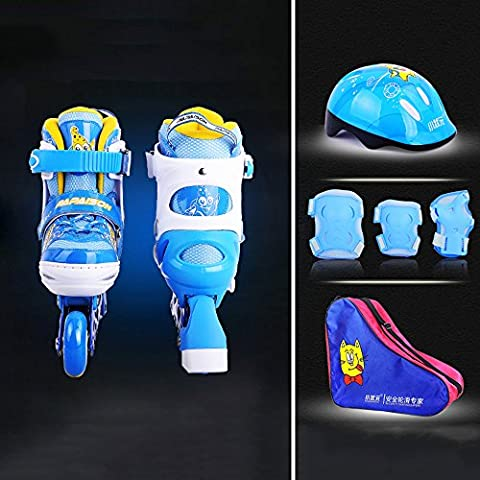 Crayom Sicherheit Keine Angst Verdickte Zehen Schlittschuhe Voller Satz Kinder Kinder Verschleißfeste PU runde Männer und Frauen gerade runde 3D atmungsaktive Mesh Rollschuhe ( Color : Blue , Size : M )