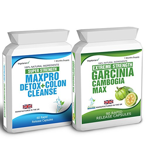 Body Smart Herbals - 90 Garcinia Cambogia & 60 Colon Cleanse Detox Slimming Diet Pills Max Pro