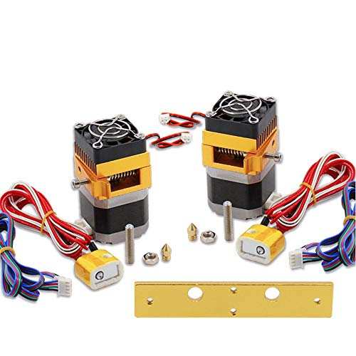 Hengyuanyi Cabezal de impresión Doble MK8 Makerbot extrusor de 12 V/24 V, 0,4/1,75 mm, Apto para Impresora 3D