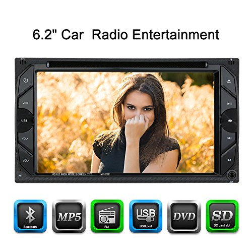 KKmoon 6,2 Zoll 2 Din Universal HD Auto Stereo,DVD Spieler,FM Radio,Bluetooth Funk Entertainment Touch Screen mit USB-Anschluss
