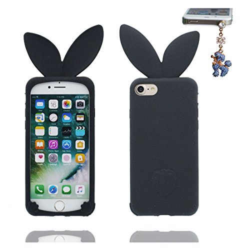iPhone 7 Custodia, TPU sicuro / Case iPhone 7 Copertura / Shock Dust Resistant Shell iPhone 7 Cover 4.7 e tappi antipolvere / Cartoon 3D coniglio orecchio Nero