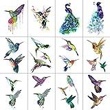 WYUEN 12 STÜCKE Kolibris Temporäre Tattoo Aufkleber für Frauen Männer