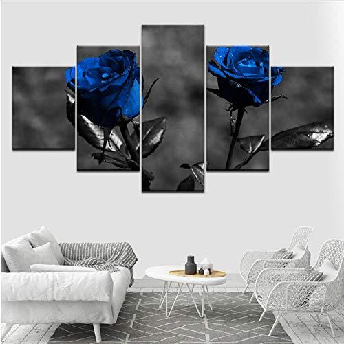 Dekor, Gerahmte Kunst (hcwxy Poster Bilder Leinwand Modular Home HD Drucke 5 Stücke Blaue Rosen Blumen Gemälde Moderne Kunst Gerahmte Dekor Für Wohnzimmer Wal Leinwand-Rahmen)