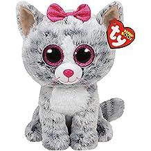 Carl etto TY 37075–Kiki, gatto con occhi brillanti, Glub schis Beanie Boos,, 24cm, colore: grigio
