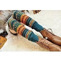 HuaYang New Fashion Women Winter Warm Long Leg Warmers Knit Crochet Socks Legging Stocking(Blue)