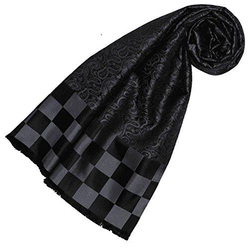 LORENZO CANA High End Luxus Schal aus 100% feinster Seide aufwändig jacquard gewebt Damast Seidenschal Seidentuch Tuch Dandy-Style Schwarz 25 x 160 cm 89215