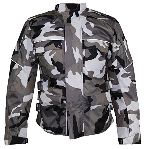 Motorrad Textil Jacke Motorradjacke Racing Wasserdicht Schutzjacke Sommer Camo Camouflage (XL)