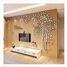 Acrílico pegatinas de pared árbol, vinilos decorativos tridimensionales 3d sofá de la sala, pegatinas TV telón de fondo, decoración de su cuarto dormitorio