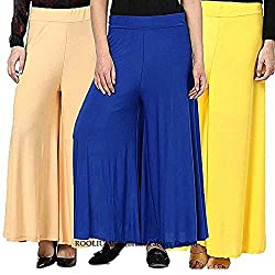 ROOLIUMS (Brand Factory Outlet) Womens Trendy and Stylish Malai Lycra Palazzo (Pack of 3) Free Size (Beige, Blue, Yellow)