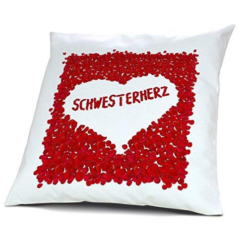 """Kopfkissen Schwesterherz, Kissen mit Füllung """"Rosenblätter Herz"""", 40 cm, 100% Baumwolle, Liebeskissen, Namenskissen, Geschenkidee"""