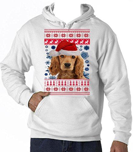 Teesquare1st Men's GOLDEN COCKER SPANIEL 1 SANTA CHRISTMAS White Hoodie T-Shirt Size Large