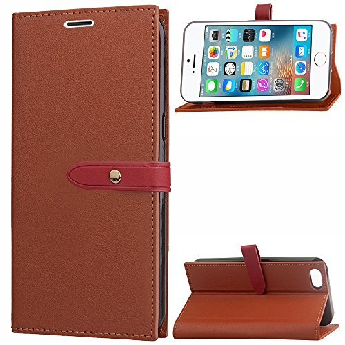 EKINHUI Case Cover Business Style Mixed Farben Slim Design PU Ledertasche Brieftasche Stand Case [Shockproof] mit Niet Echt Leder Gürtel & Kickstand & Card Slots für iPhone 5s & SE ( Color : Black ) Brown
