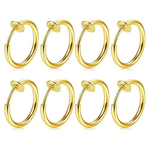 FECTAS 8stk Fake Nasen Lippe Septum Ohrring Piercing Ring Clip Chirurgenstahl Kein Piercing Bauchnabelpiercing Clicker -