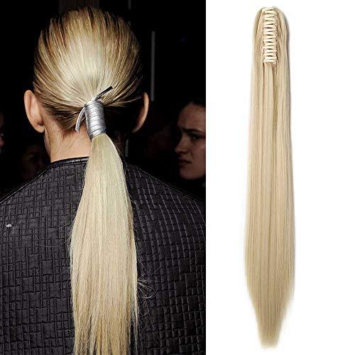 Coda capelli extension coda di cavallo clip pinza 53cm fascia unica parrucchino ponytail capelli finti lisci effetto naturale 140g - biondo chiarissimo