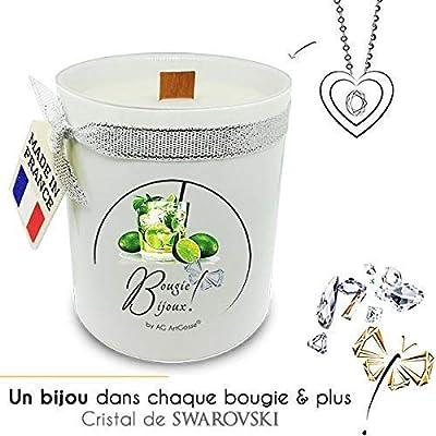 Bougie Bijoux Mojito AG Artgosse, CADEAU surprise éléments Cristal de Swarovski pour femme, ambiance de fête d'anniversaire, Pendentif