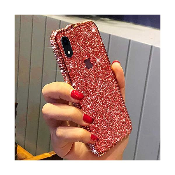 Uposao Compatible with iPhone XS Max Case Glitter Sparkly Bling Case for Girls Women Shiny Diamond Rhinestone Metal Bumper Frame Glitter Sticker Case Cute Fashion Case,Red Uposao Compatible Model: iPhone XS Max Made of independent bling back sticker and hard aluminum alloy bumper frame, sleek and elegant. Pretty bling artificial diamond on the frame and shiny back sticker make your phone different and eye-catching. 2