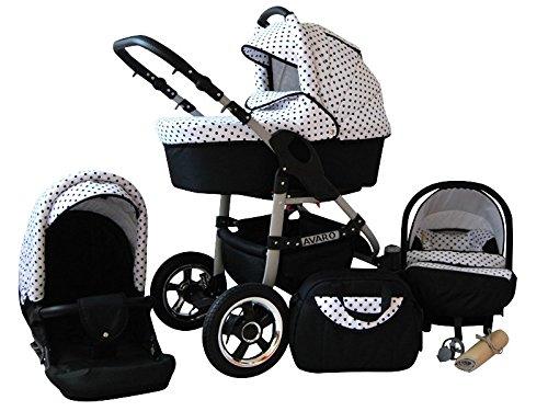 Lux4Kids Avaro Kinderwagen Komplettset (Autositz & Adapter, Regenschutz, Moskitonetz, Schwenkräder) 14 Black Dots