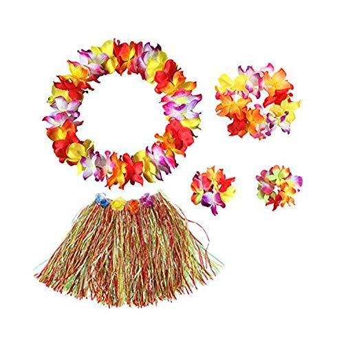 SUNRIZ Hawaiian Hula Gras Rock mit Blumen Leis Kostüm Set Elastische Grass und Blumen Armbänder, Stirnband, Halskette, für Luau Beach Party Dance Gefälligkeiten Kostüm Frauen