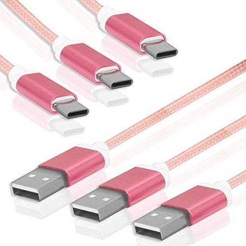 Pack Usb-kabel Multi ([3 Stück Multipack] USB-C Daten- / Ladekabel für Smartphones von Sony, Huawei, HTC, ZTE, Vernee und mehr - siehe Liste | 1,5m | Rosa | Nylon)