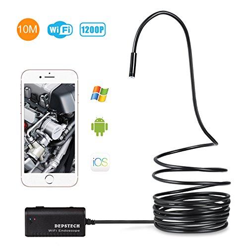 Depstech Kabelloses Endoskop WiFi Endoskopkamera wasserdichte Inspektionskamera mit 2,0 Megapixel 720P HD halbsteife Kabel Boreskope Schlange kamera für Android und IOS Smartphone, iPhone, Samsung, Tablet - (Schwarz-10M)