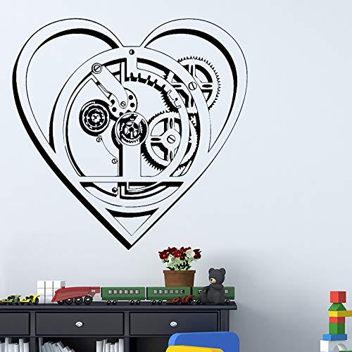 Technologie Herz Wandaufkleber Hintergrund Wandkunst Aufkleber Dekoration Für Schlafzimmer Zubehör Abnehmbare Selbstklebende Pvc 86 cm X 84 cm