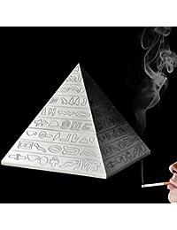 YJY^MAX Cenicero de Pyramid de Aleación de zinc para Cigarrillos o Puros con tapa , Tormenta de cenicero Ashtray Decorativo para el exterior y el interior , Sin malos olores. Fácil de lavar. Color plateado