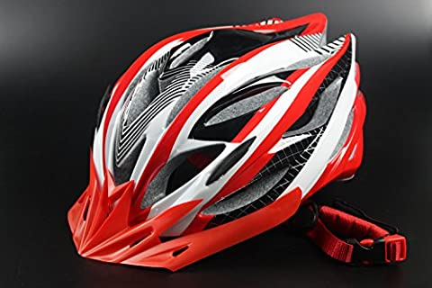 HAOXUAN Helmets Bicycle Helmet Riding Helmet Ultra-Lightweight Composite Road Vehicle Headlamps Mountain Helmets, Red One Size